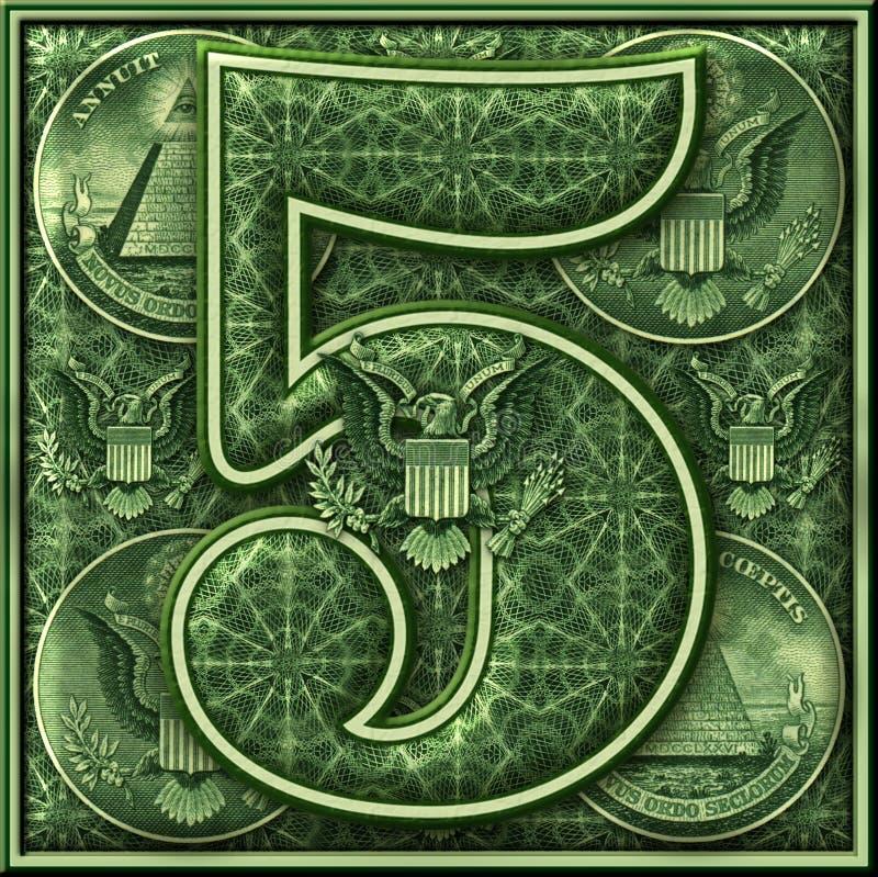 Número cinco presentado con un tema iluminado del dinero stock de ilustración