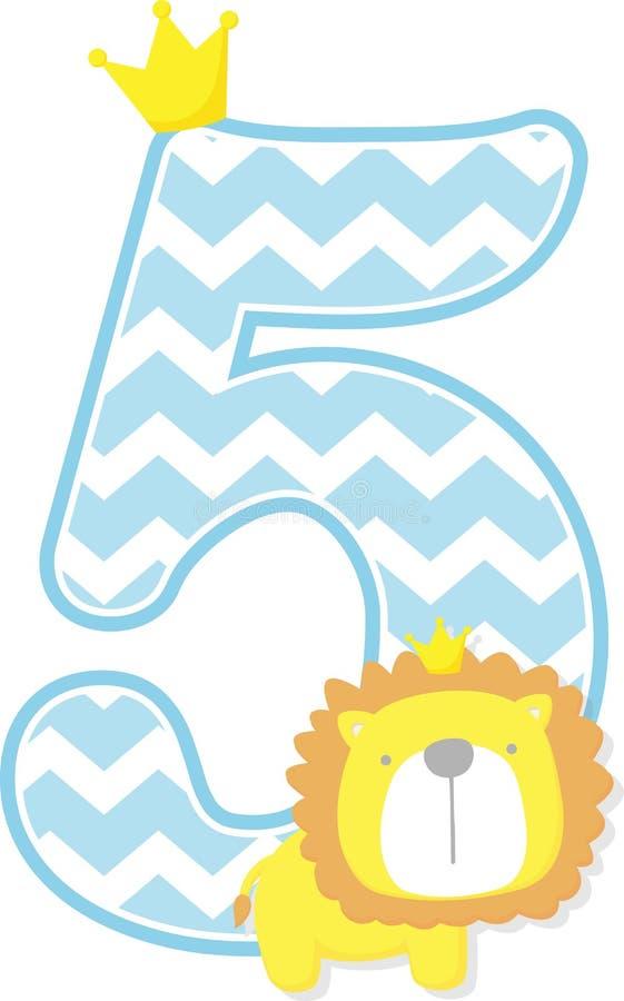 Número 5 com o rei bonito do leão e o teste padrão da viga ilustração stock
