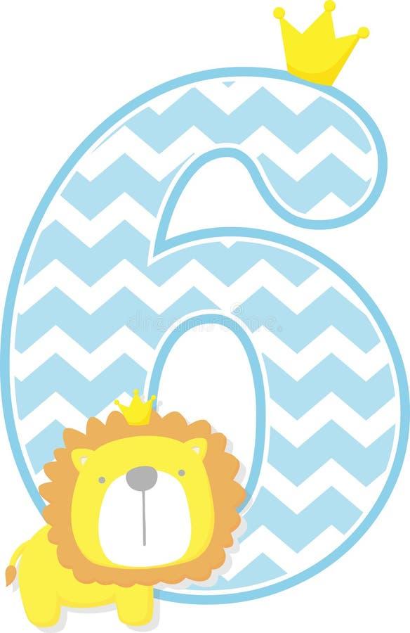 Número 6 com o rei bonito do leão e o teste padrão da viga ilustração royalty free