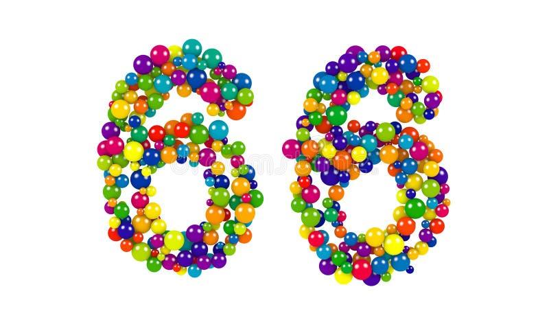 Número 66 como bolas coloridas sobre o branco ilustração stock