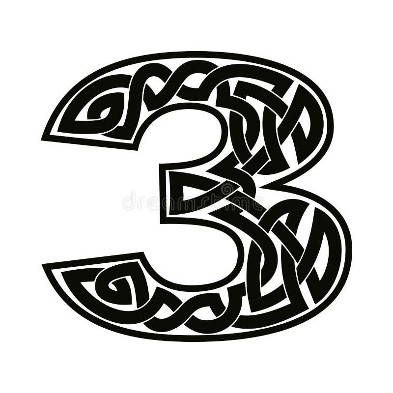 Número con el ornamento céltico ilustración del vector