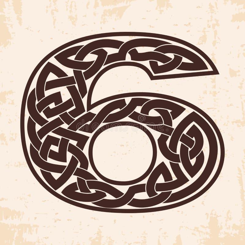 Número con el ornamento céltico stock de ilustración