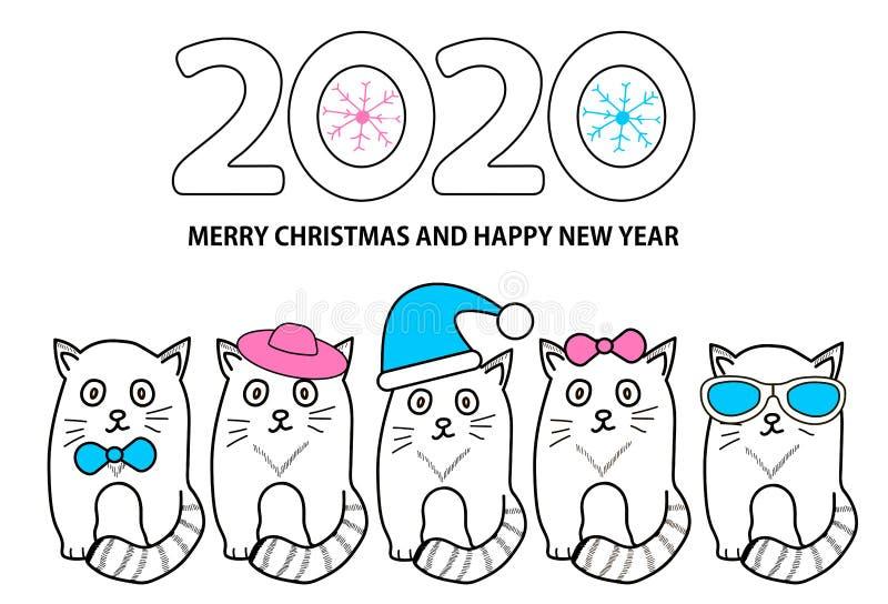 Número 2020, copos de nieve, gatos y Feliz Navidad del texto y Feliz Año Nuevo en el fondo blanco stock de ilustración