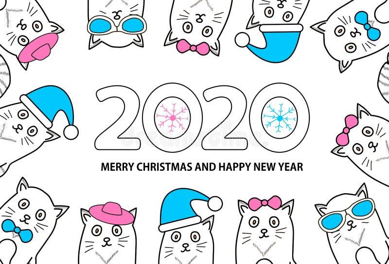 Número 2020, copos de nieve, gatos y Feliz Navidad del texto y Feliz Año Nuevo en el fondo blanco ilustración del vector
