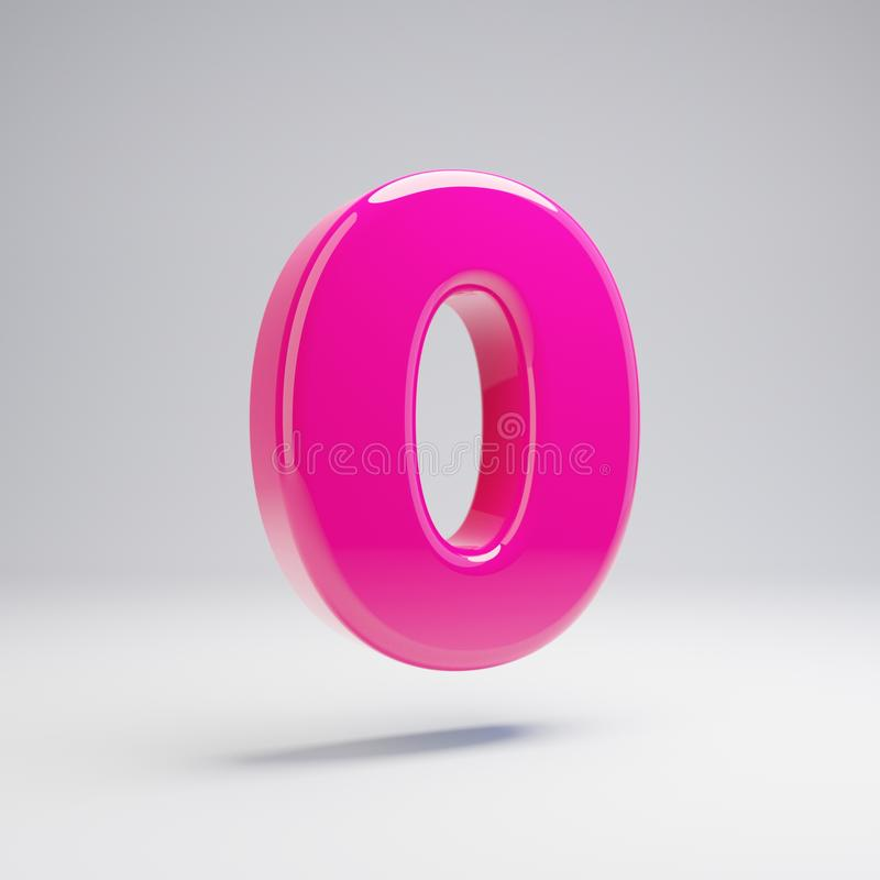 Número cor-de-rosa lustroso volumétrico 0 isolado no fundo branco ilustração do vetor