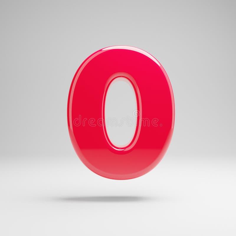 Número cor-de-rosa de néon lustroso 0 isolado no fundo branco ilustração stock