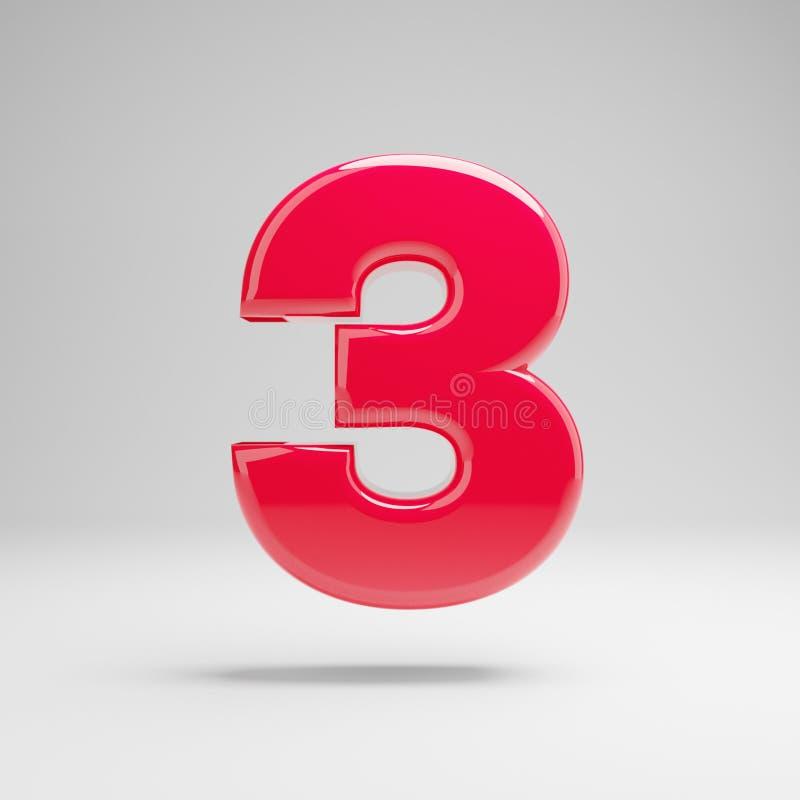 Número cor-de-rosa de néon lustroso 3 isolado no fundo branco ilustração do vetor