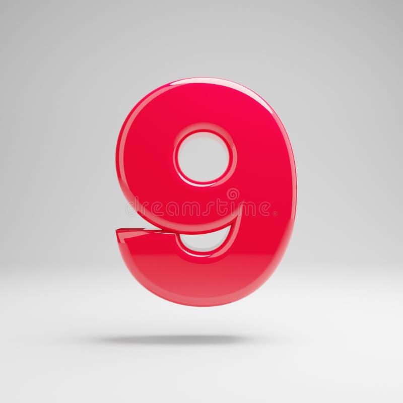 Número cor-de-rosa de néon lustroso 9 isolado no fundo branco ilustração stock