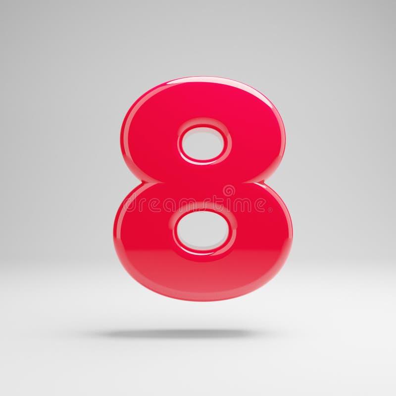 Número cor-de-rosa de néon lustroso 8 isolado no fundo branco ilustração do vetor