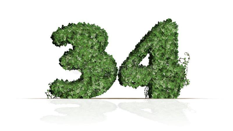 Número 34 criado das folhas verdes da hera ilustração stock