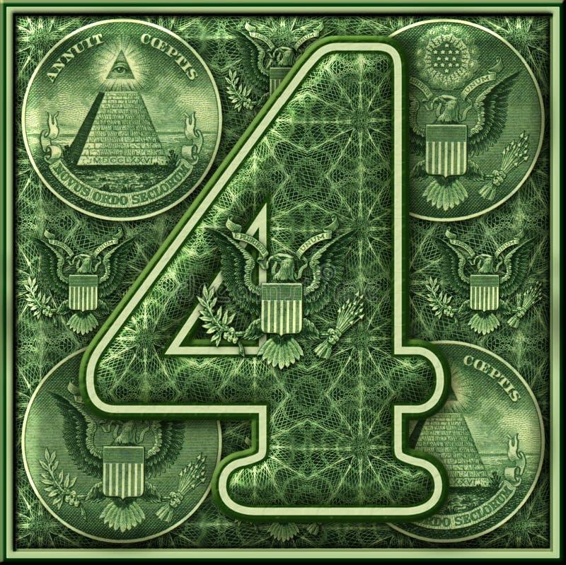 Número cuatro presentado con un tema iluminado del dinero libre illustration