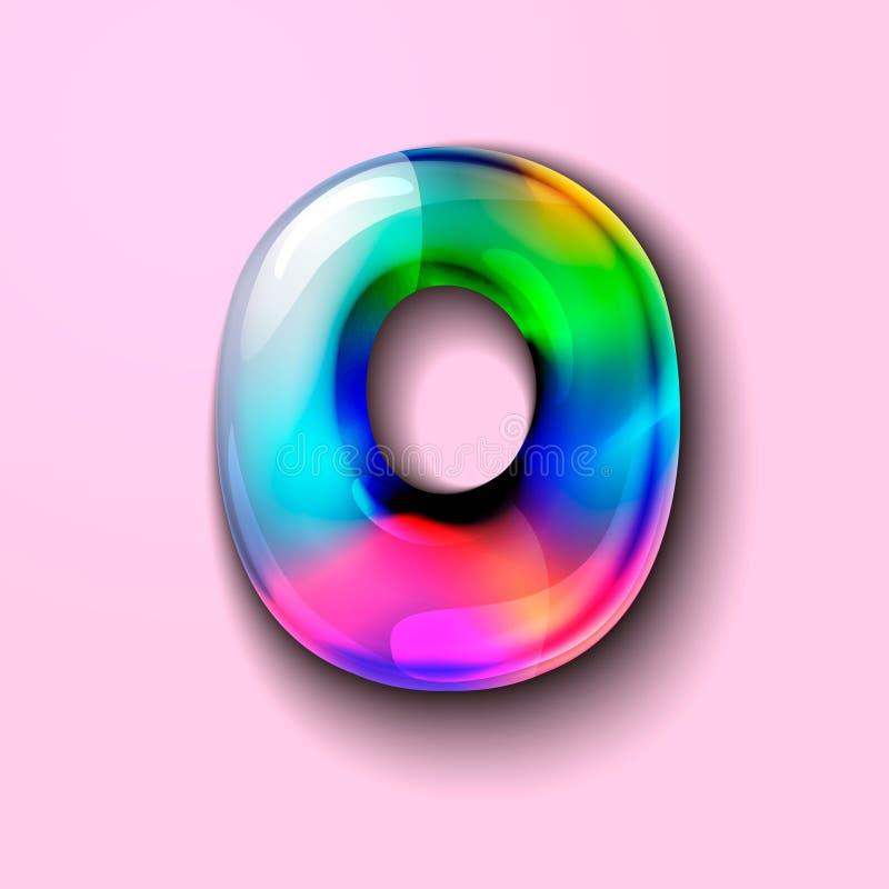 número 3d holográfico moderno zero número 3d gelatinoso doces 3d ilustração royalty free