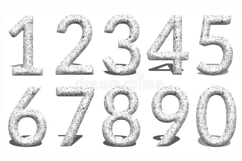 número 3d a partir de la 0 a 9 en el fondo de piedra libre illustration