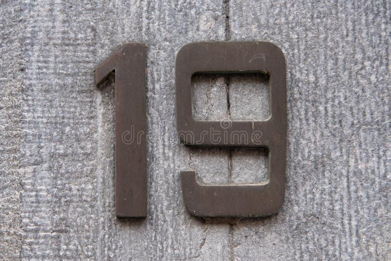 Número da casa 19 fotografia de stock