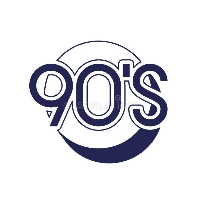 Número da década dos anos noventa com ícone do círculo ilustração royalty free