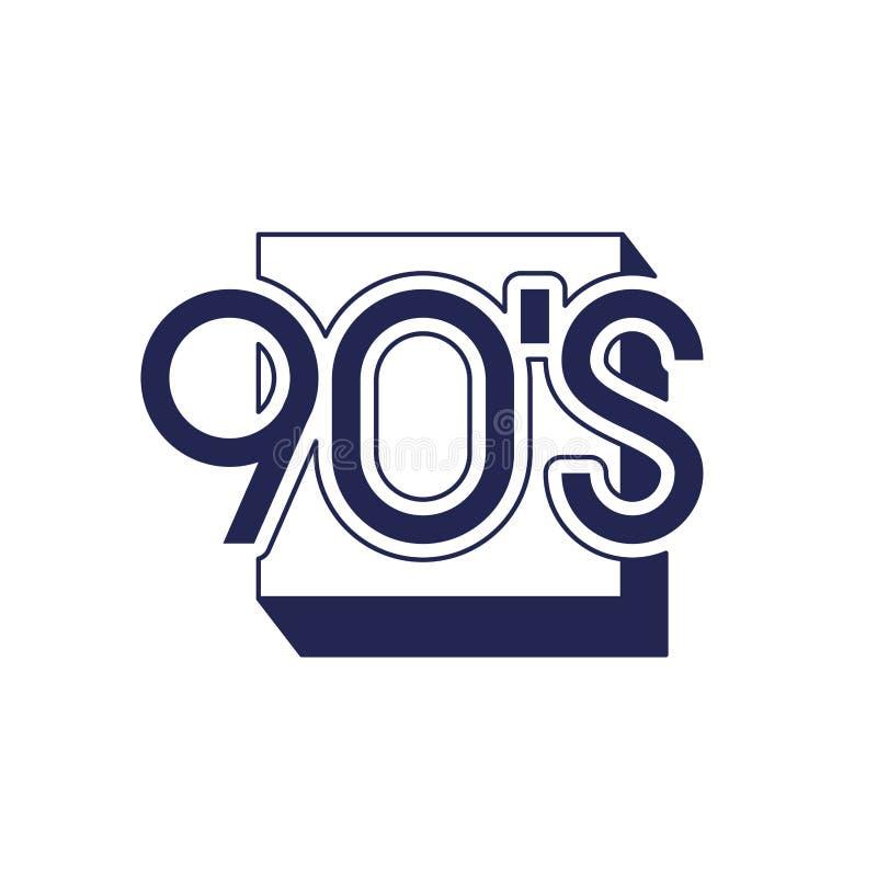 Número da década dos anos noventa com quadrado ilustração do vetor