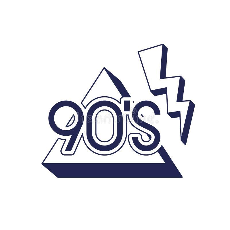 Número da década dos anos noventa com triângulo e trovão ilustração do vetor