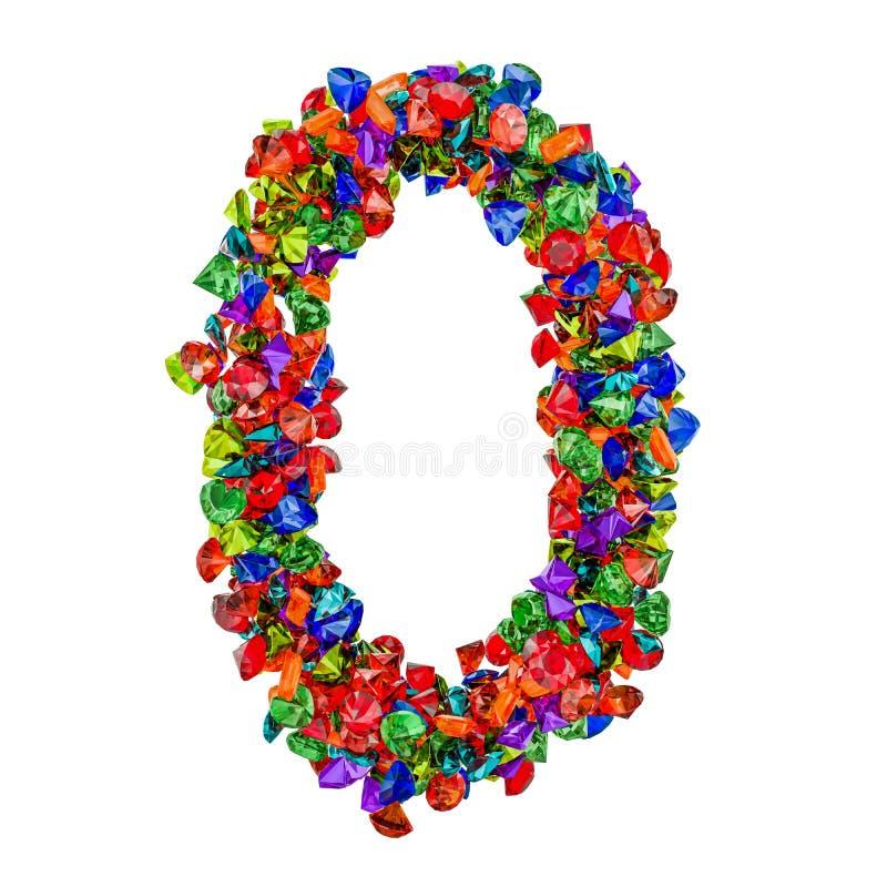 Número 0 das pedras preciosas coloridas rendição 3d ilustração royalty free