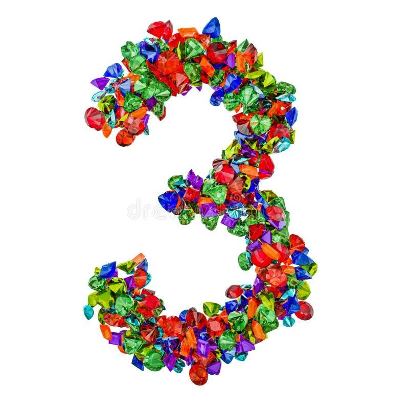 Número 3 das pedras preciosas coloridas rendição 3d ilustração do vetor