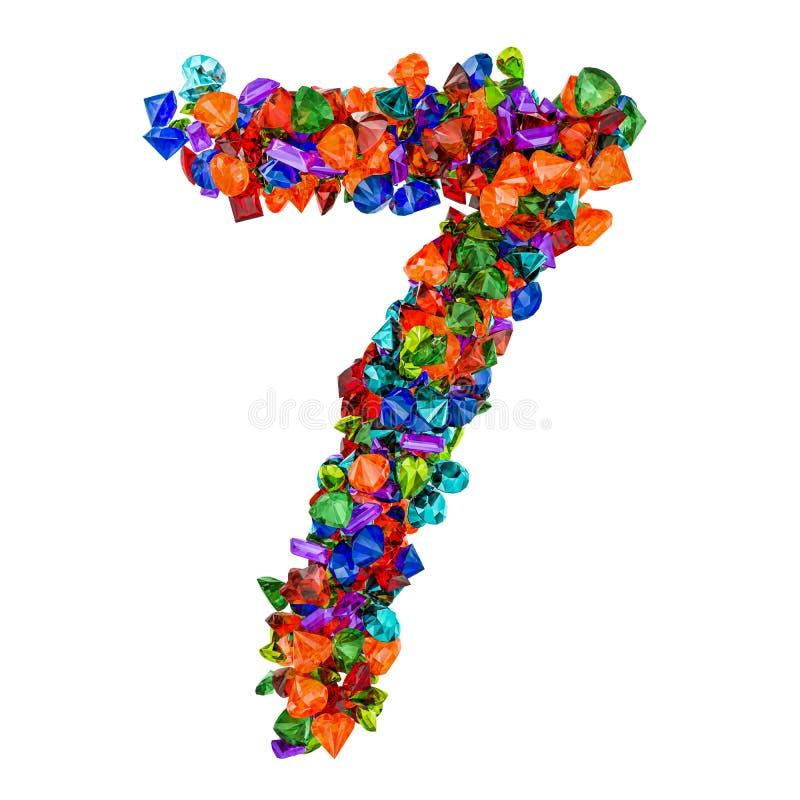 Número 7 das pedras preciosas coloridas rendição 3d ilustração stock