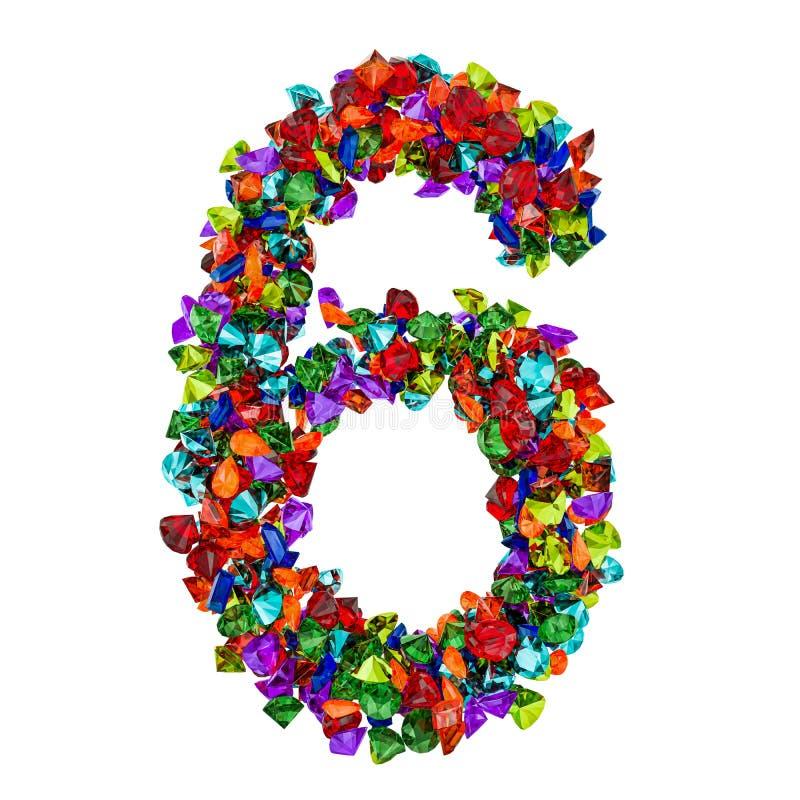 Número 6 das pedras preciosas coloridas rendição 3d ilustração stock
