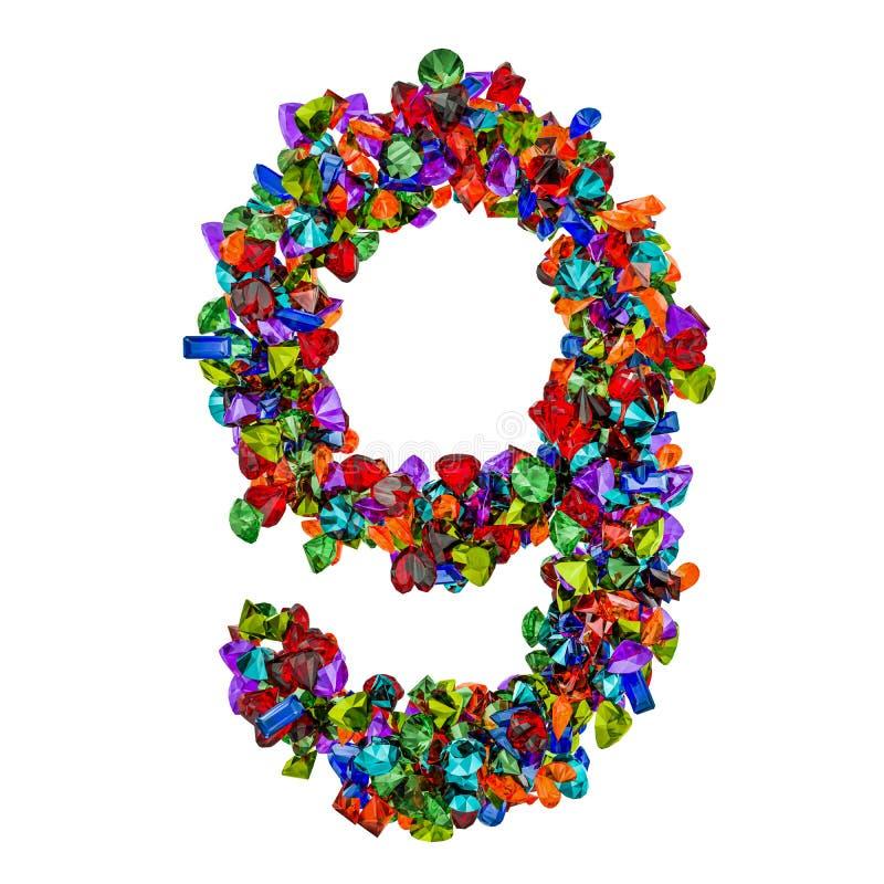 Número 9 das pedras preciosas coloridas rendição 3d ilustração stock