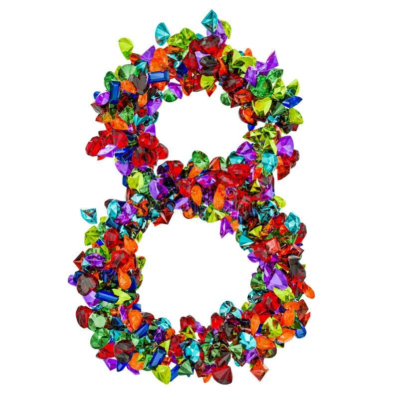 Número 8 das pedras preciosas coloridas rendição 3d ilustração do vetor