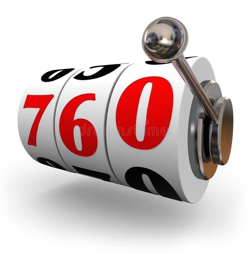 Número das rodas do slot machine da pontuação de crédito o grande aplica o empréstimo ilustração do vetor