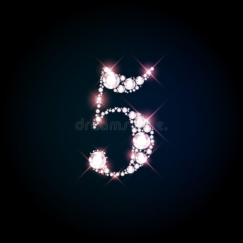 Número de brilho cinco do diamante de brilliants efervescentes ilustração royalty free