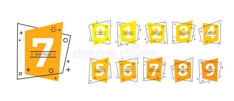 Número de días a ir icono pasado de la cuenta descendiente de las insignias ilustración del vector