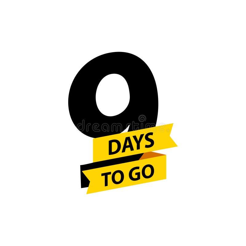 Número 9 de días a ir Venta de las insignias de la colecci?n, p?gina de aterrizaje, bandera Ilustraci?n del vector ilustración del vector