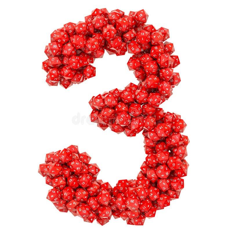 Número 3, de dados veinte-echados a un lado rojos, representación 3D ilustración del vector
