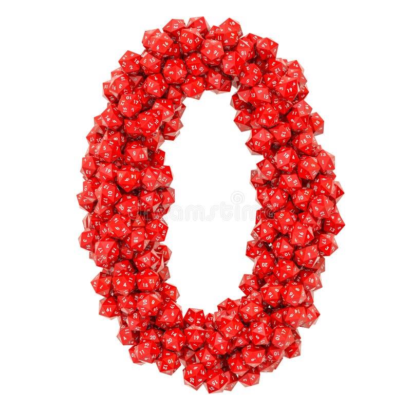 Número 0, de dados veinte-echados a un lado rojos, representación 3D stock de ilustración