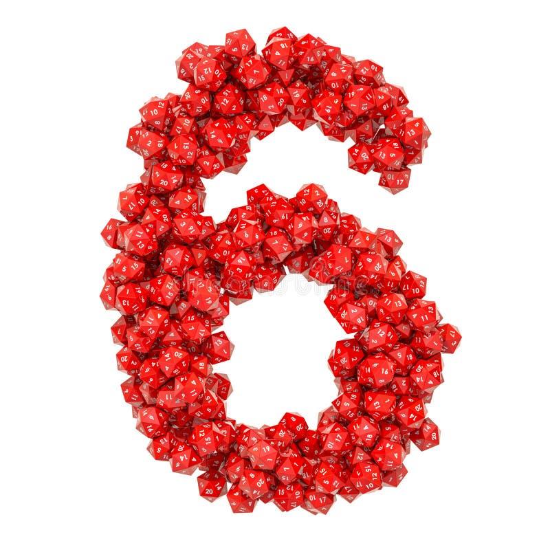 Número 6, de dados veinte-echados a un lado rojos, representación 3D libre illustration