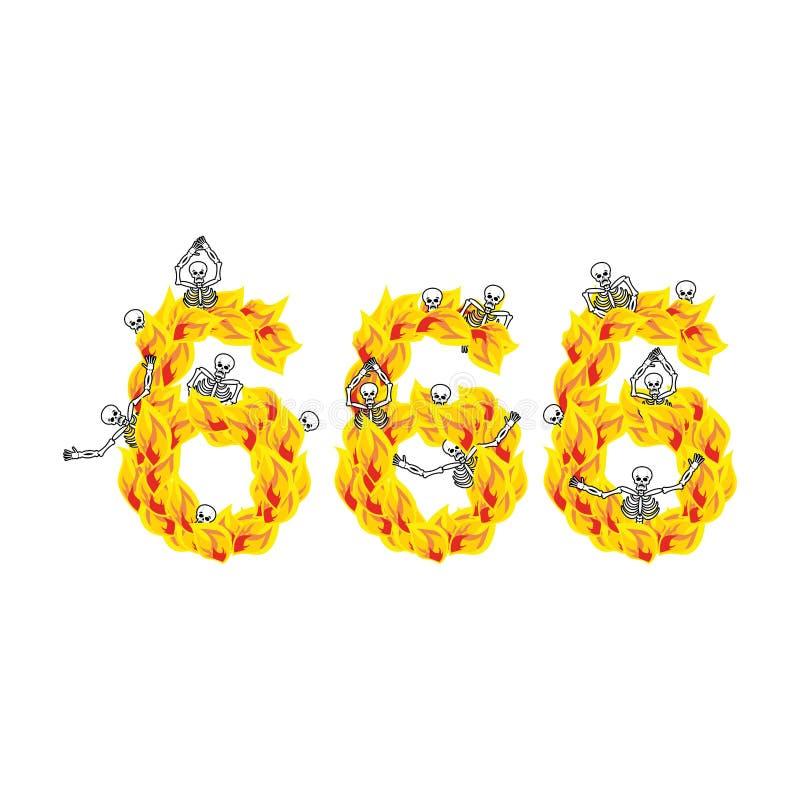 número 666 de diablo Fuego numérico Esqueletos en infierno sinners libre illustration