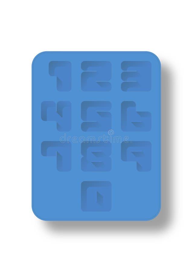 Número de estilo de la bandeja de hielo ilustración del vector