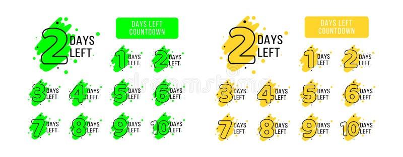 Número de etiquetas izquierdas de los días Conjunto grande Etiquetas amarillas y verdes brillantes del coutdown para la promoción libre illustration
