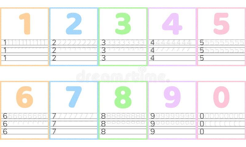 Número de línea del rastro para los niños de la guardería y del preshool Verde del color en colores pastel Dot Background ilustración del vector