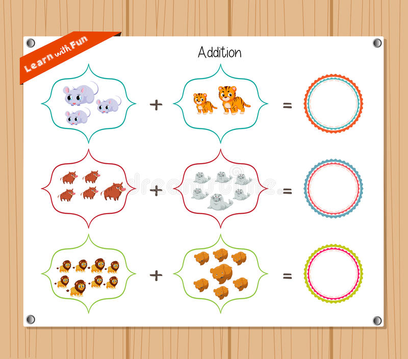 Número de la adición - hoja de trabajo para la educación ilustración del vector