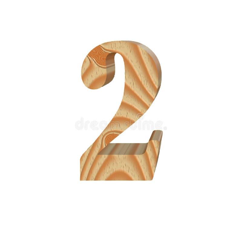 Número de madeira 2 isolado no fundo branco Projeto volumétrico amigável do alfabeto do eco da madeira Ilustração do vetor ilustração stock