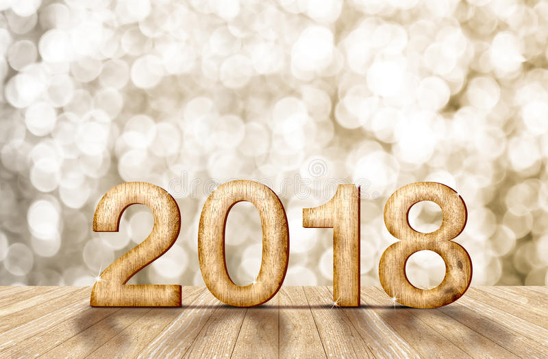 número de madera del Año Nuevo 2018 en sitio de la perspectiva con el bok chispeante imagenes de archivo