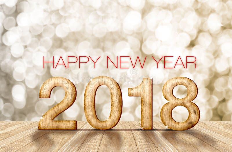 número de madera de la Feliz Año Nuevo 2018 en sitio de la perspectiva con sparkli fotos de archivo libres de regalías
