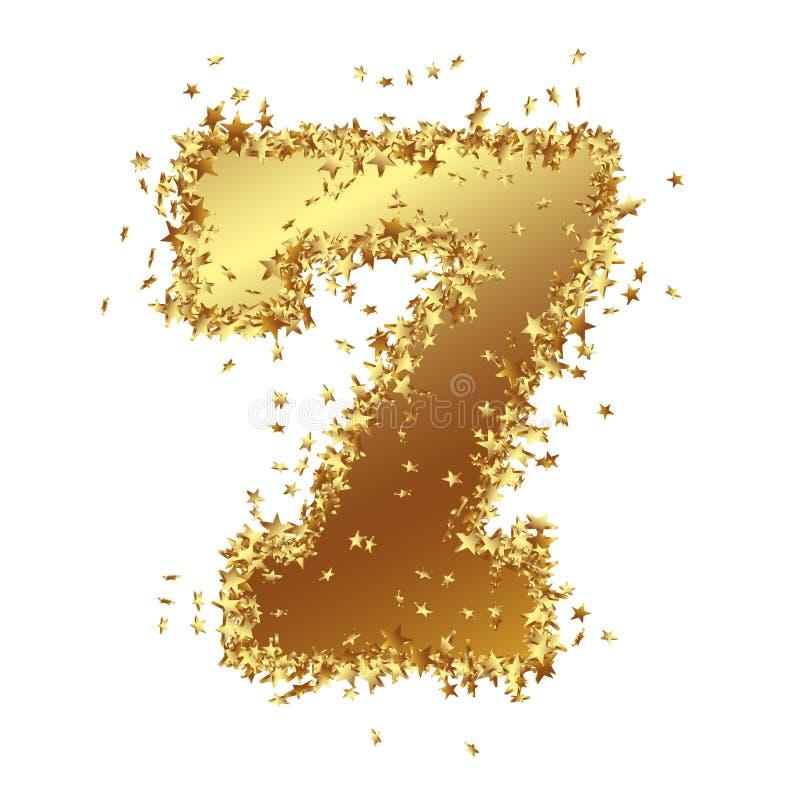Número de oro abstracto con la frontera de la actriz joven - siete - 7 ilustración del vector