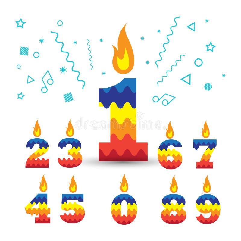 Número de queimadura velas de 1 aniversário ilustração royalty free