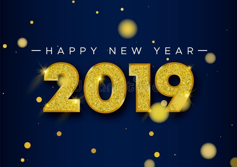 Número 2019 de tarjeta del brillo del oro de la Feliz Año Nuevo libre illustration