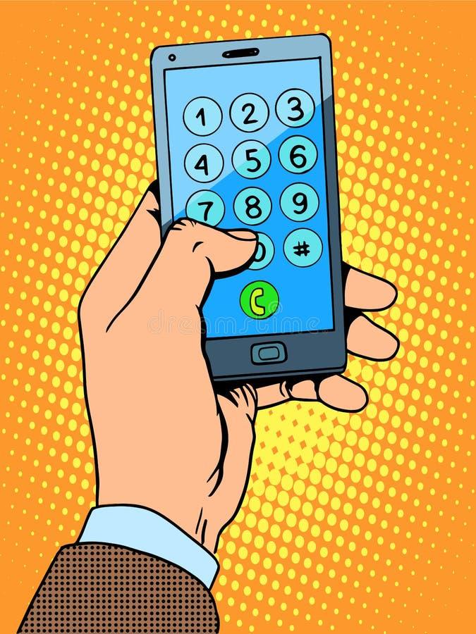 Número de teléfono del smartphone de la mano ilustración del vector