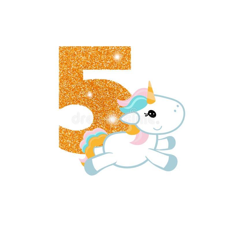 Número del aniversario del cumpleaños con unicornio lindo ilustración del vector