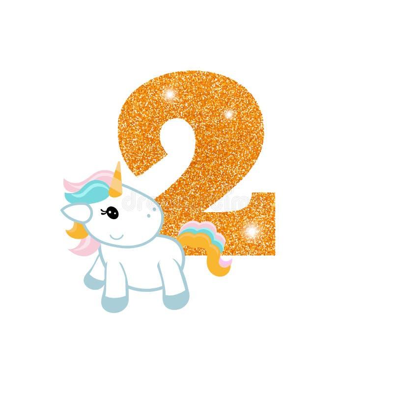 Número del aniversario del cumpleaños con unicornio lindo libre illustration