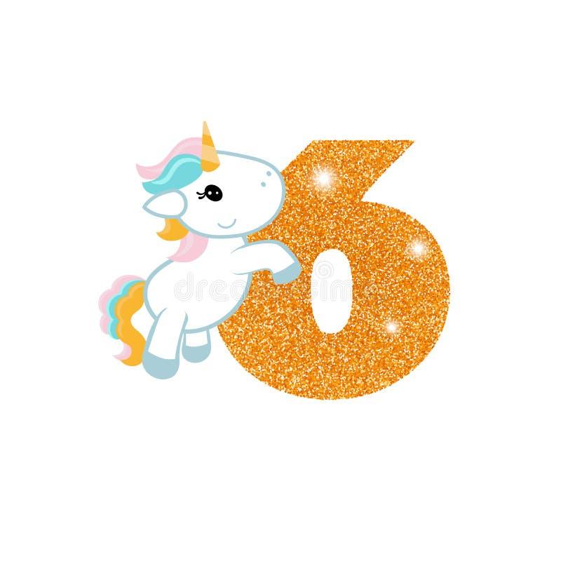Número del aniversario del cumpleaños con unicornio lindo stock de ilustración