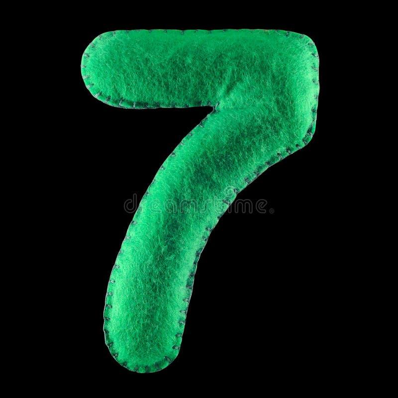 Número 7 del fieltro del verde stock de ilustración